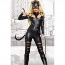 Supply Fashionable Halloween Black Long - Sleeved Sexy Catwoman Fights One - Piece Dress Tights Halloween Costume