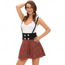 Europe and The United States Halloween Costume Plaid Placket Sleeveless Pleated Skirt Dress