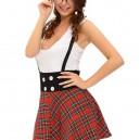 Europe and The United States Halloween Costume Plaid Placket Sleeveless Pleated Skirt Dress