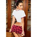 European and American Halloween Suit Collar Short - Sleeved Naughty Plaid Women #39 S Clothing Halloween Costume