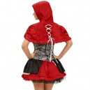 Hooded Cape Lace Pleated Skirt Little Red Riding Hood Stage Performance Service Halloween Costume