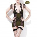 Sexy Green Temptation Women Fringed Black Mesh Stitching Army Green Army Uniforms Halloween Costume