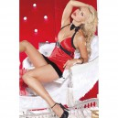 Stage Clothes Red Velvet Harness V - Neck Sexy Christmas Fantasy Miss Mini Skirt