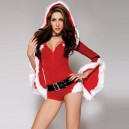 Carnival Santa Claus Dress Sexy Round Collar Trumpet Sleeve Hooded Hooded Coat