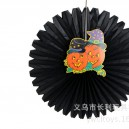 Halloween Ghost Fan Decorative Ornaments Ktv Decoration Ghost Festival Paper Fan Pumpkin Skull Spider Paper Ornaments