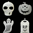 Supply Halloween Supplies Scene Arrangement Pumpkin Ghost Skull Tombstone Bats Hanging Window Walls