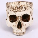 Supply Halloween Resin Skeleton Damage Make Old Skull Terror Ghost House Flower Pattern Skull Carving