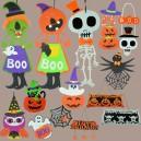 Halloween Haunted Halloween Decoration Cartoon Skull Witch Spider Web Pumpkin Nonwoven Pendant Dress Up