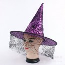 Supply Halloween Witch Hat Witch Hat Princess Performance Hat Mesh Color Witch Hat Cob Spider Pattern