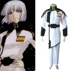 Gundam Seed Lyzak Jule White Uniform Halloween Cosplay Costume