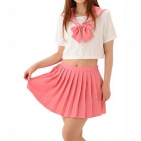 Cheap Pink Short Sleeves School Uniform Halloween Cosplay Costume