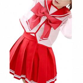 Red Long Sleeves Bow School Uniform Halloween Cosplay Costume