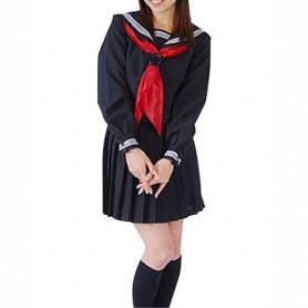 Black Long Sleeves School Uniform Halloween Cosplay Costume