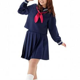 Blue Slong Sleeves School Uniform Halloween Cosplay Costume
