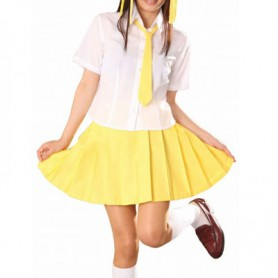 White And Yellow Short Sleeves School Uniform