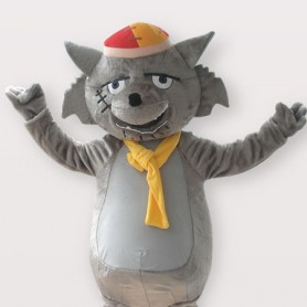 Gray Wolf Short Plush Adult Mascot Costume