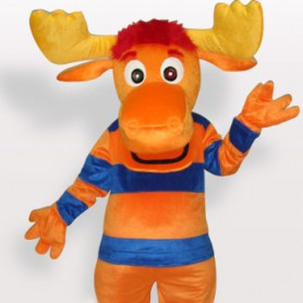 Stripe Deer Short Plush Adult Mascot Costume