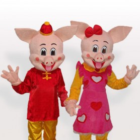 The Golden Pig Couples Adult Mascot Costume