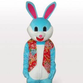 Colorful Rabbit Short Plush Adult Mascot Costume