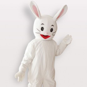 White Rabbit Short Plush Adult Mascot Costume