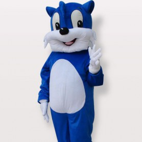 Blue Cat Short Plush Adult Mascot Costume