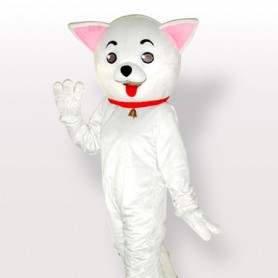Pink Ears Kitty White Adult Mascot Costume