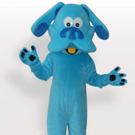 Unusual Blue Dog Short Plush Adult Mascot Costume