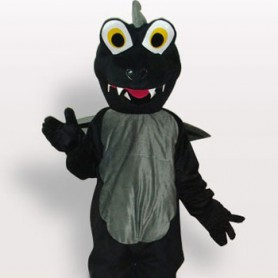 Black Dinosaur Short Plush Adult Mascot Costume