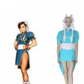 Street Fighter Chun Li Blue Fighting Game Halloween Cosplay Costume