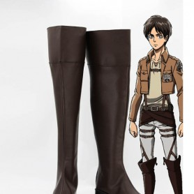 Attack on Titan Eren Jaeger Black Cosplay Boots