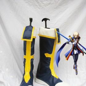 BlazBlue Jin Kisaragi Dark Blue Military Cosplay Boots