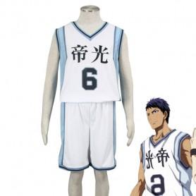 Kuroko no Basketball Daiki Aomine Teiko Middle School basketball team Uniform Cosplay Costume White Number 6
