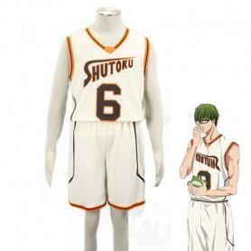 Kuroko no Basketball Shintaro Midorima Shutoku High School basketball team Uniform Cosplay Costume Light Yellow Number 6