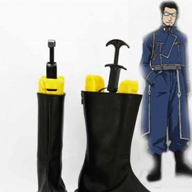 Fullmetal Alchemist Maes Hughes Black Cosplay Boots