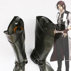 Hakuouki Sanosuke Harada Black Cosplay Leather Boots