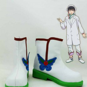 White & Green Hoozuki no Reitetsu Hakutaku Embroidery Cosplay Boots