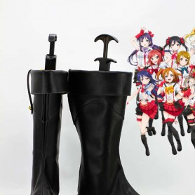 LOVE LIVE! Black Artificial Leather Copslay Boots