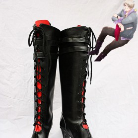 Axis Powers Hetalia Prussia Buckle Belt Lace Up Cosplay Boots