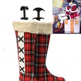 Black Butler Ciel's Kawaii Gird Pattern Cosplay Snow Boots