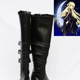 Chobits Cosplay Freya Black Artificial Leather Cosplay Boots