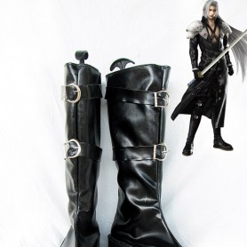 Final Fantasy VII Cosplay Sephiroth Black Buckle Boots