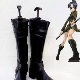 Hitman Reborn Chrome Dokuro Black Artificial Leather Cosplay Boots