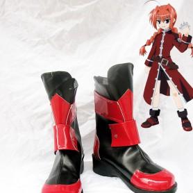Magical Girl Lyrical Nanoha Vita Red and Black Cosplay Boots