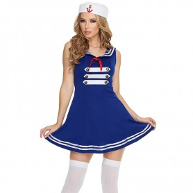Fashionable Seamaster Dress V - Neck Sleeveless Bow Decorative Blue Dress Halloween Costume