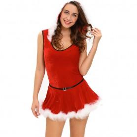 Christmas Hooded Sleeveless Detachable Skirt Christmas One - Piece Dress