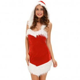 Europe and The United States Halloween Role - Playing Stage Installed Sexy Girls Hooded Christmas Dress
