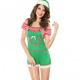 Europe and The United States Light Green Short - Sleeved Shorts Christmas Equipment Installed Christmas Stage Uniforms