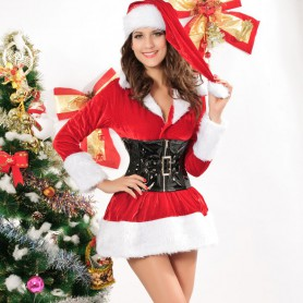 European and American Christmas Performing Costumes Pengbu Sexy with Belt Christmas Loaded Hats Uniforms