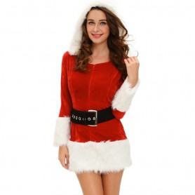 European and American Christmas and Winter Long - Sleeved Style Waist Hooded Christmas Stage Service