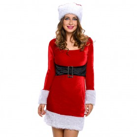 Long - Sleeved Round Necklace Velvet Stage Fitted with Christmas Equipment